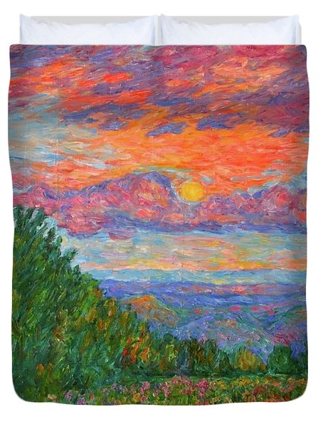Sweet Pea Morning On The Blue Ridge Duvet Cover