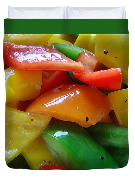Duvet Cover featuring the digital art Sweet Peppers by Jana Russon