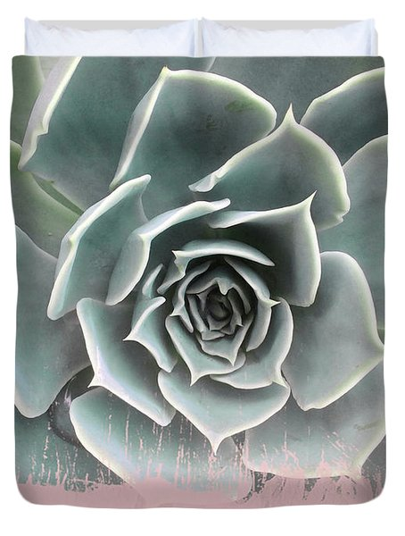 Sweet Pink Paint On Succulent Duvet Cover