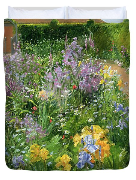 Sweet Rocket - Foxgloves And Irises Duvet Cover by Timothy Easton