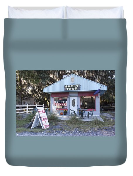 Sweet Teas And Fried Chicken Duvet Cover by Suzanne Gaff