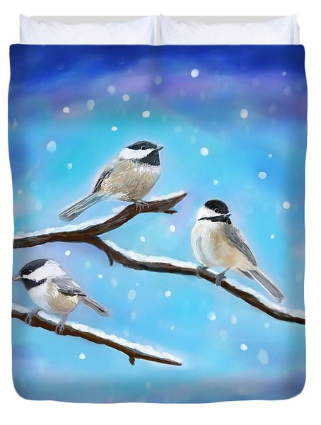 Duvet Cover featuring the painting Sweetest Winter Birdies by Leslie Allen