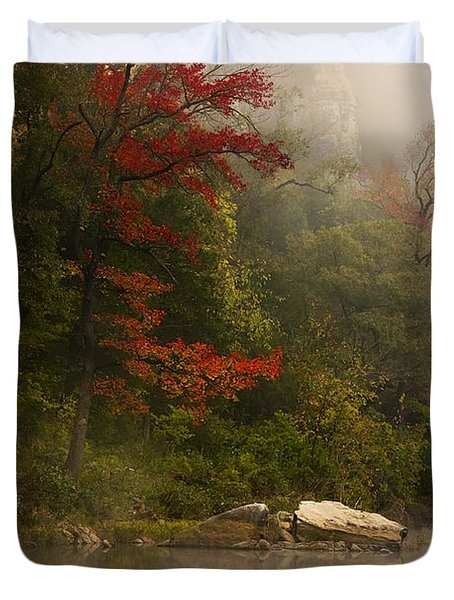 Sweetgum In The Mist At Steel Creek Duvet Cover by Michael Dougherty