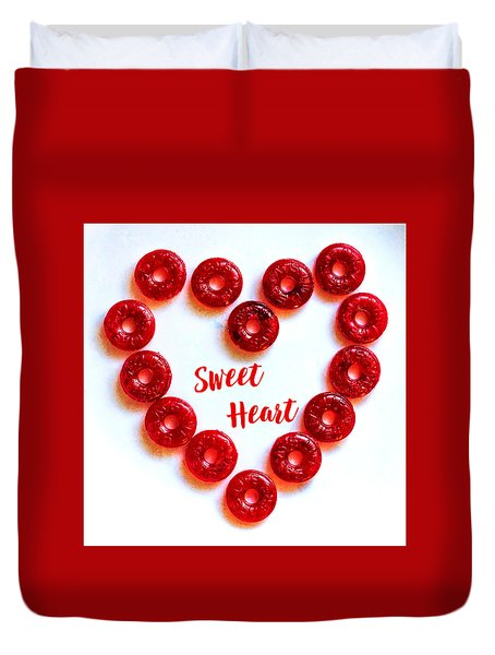 Duvet Cover featuring the photograph Sweetheart Candy Heart Square by Terry DeLuco