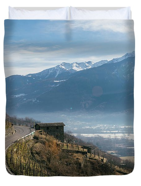 Swerving Road In Valtellina, Italy Duvet Cover