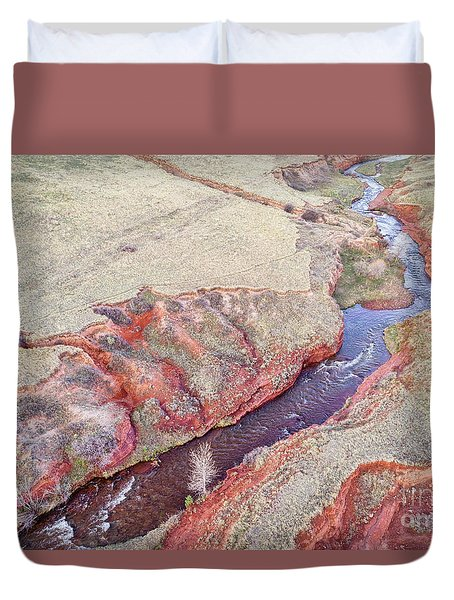 swift creek at  Colorado foothills - aerial view Duvet Cover