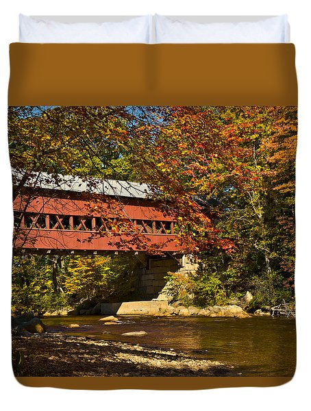 Duvet Cover featuring the photograph Swift River Covered Bridge In Conway New Hampshire by Jeff Folger
