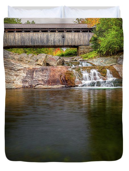 Duvet Cover featuring the photograph Swiftwater Covered Bridge by Bill Wakeley