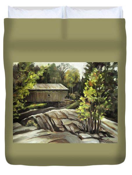 Swiftwater Covered Bridge Duvet Cover