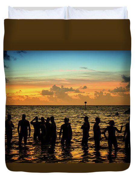 Swimmers Sunrise Duvet Cover