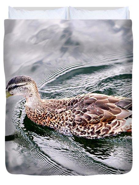 Swimming Duck Duvet Cover by Elena Elisseeva