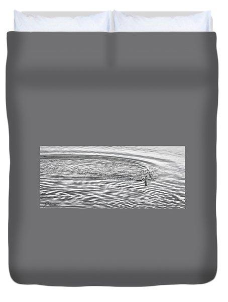 Duvet Cover featuring the photograph Swimming From Circles by Joe Bonita