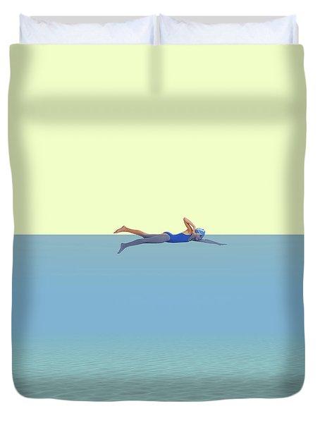 Swimming Girl Duvet Cover