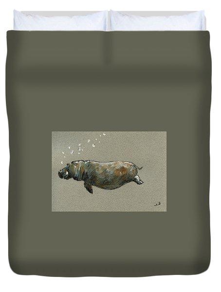 Swimming Hippo Duvet Cover by Juan  Bosco