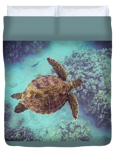 Swimming Honu From Above Duvet Cover