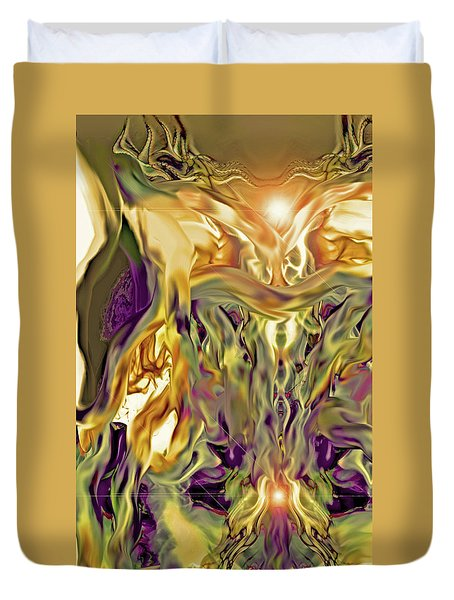 Duvet Cover featuring the digital art Swimming Horses by Linda Sannuti