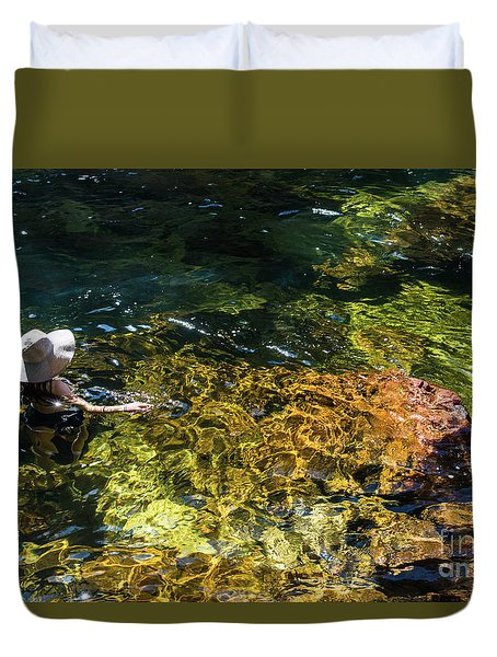 swimming in the Buley Rockhole waterfalls Duvet Cover