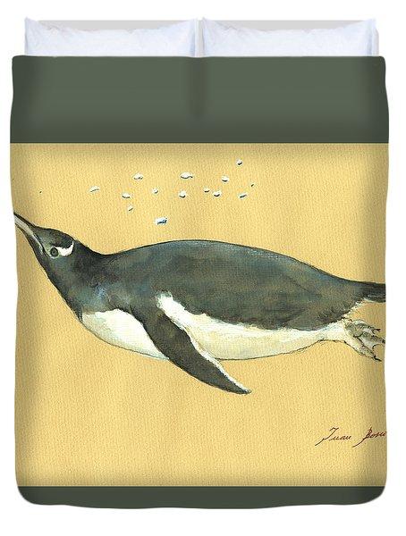 Swimming Penguin Duvet Cover