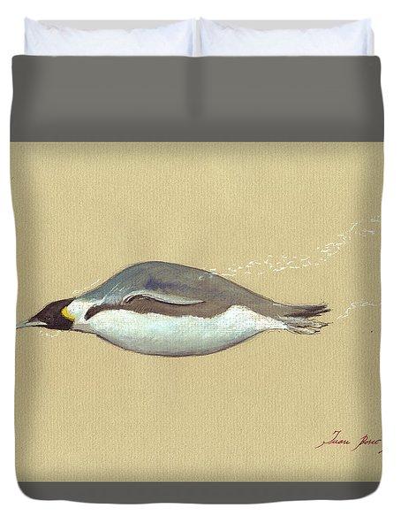Swimming Penguin Painting Duvet Cover