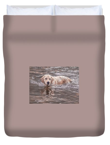 Swimming Puppy Duvet Cover