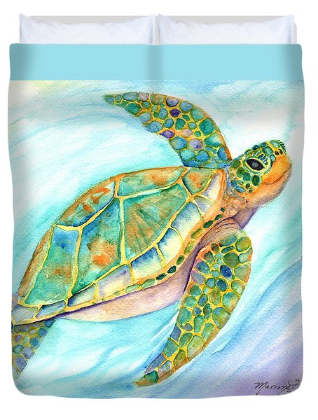 Swimming, Smiling Sea Turtle Duvet Cover