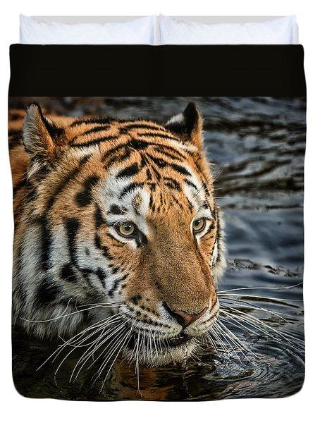 Swimming Tiger Duvet Cover
