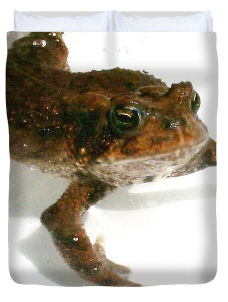 Duvet Cover featuring the digital art Swimming Toad by Barbara S Nickerson
