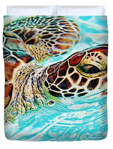 Swimming Turtle Duvet Cover