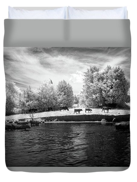 Swimming With Cows Duvet Cover by Paul Seymour