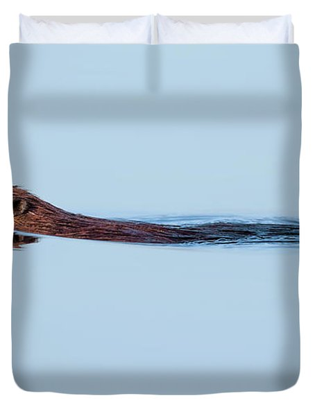 Swimming With The Beaver Duvet Cover by Bill Wakeley