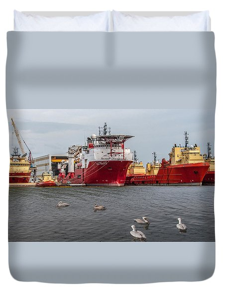 Swimming With The Big Boys Duvet Cover