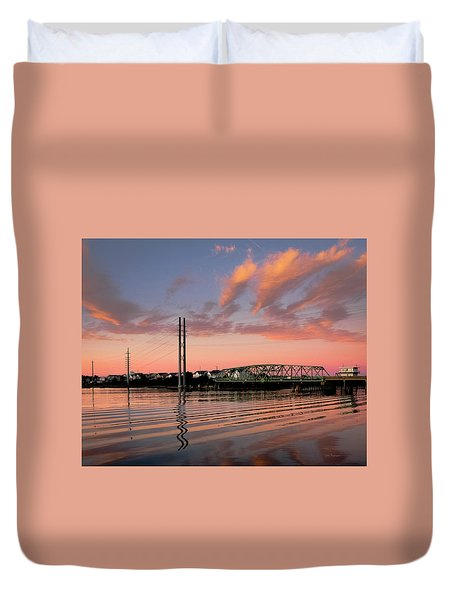 Swing Bridge At Sunset, Topsail Island, North Carolina Duvet Cover