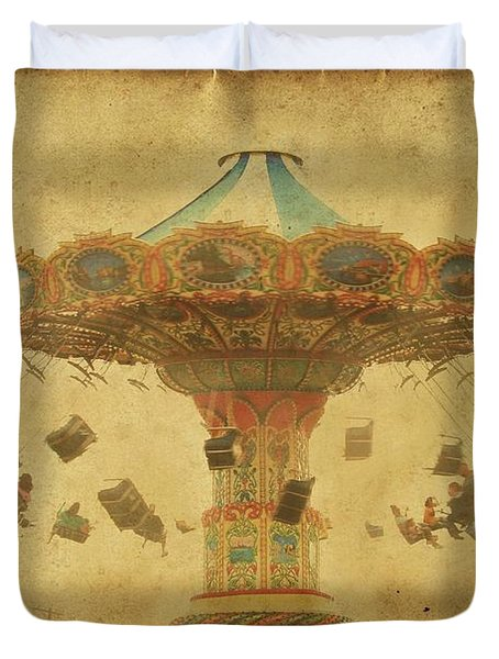 Swing Chair Ride At Jenkinsons Boardwalk - Jersey Shore Duvet Cover
