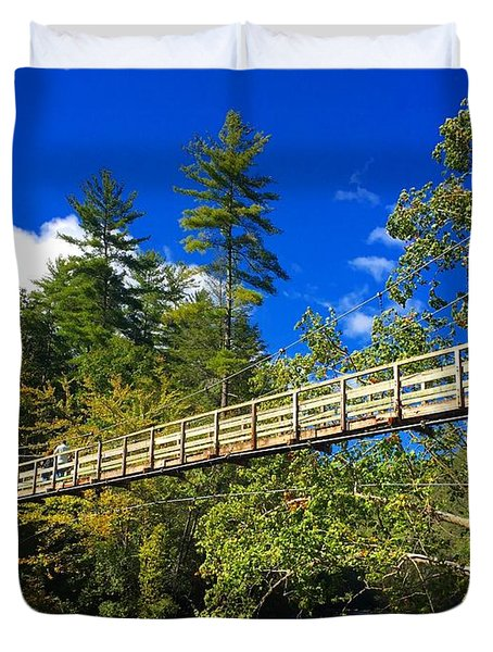 Toccoa River Swinging Bridge Duvet Cover