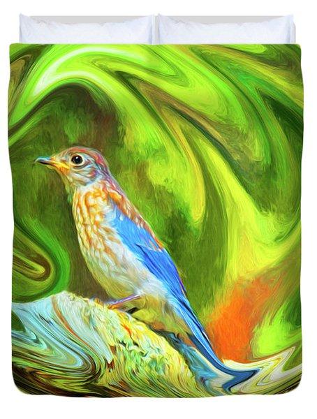 Swirling Bluebird  Duvet Cover