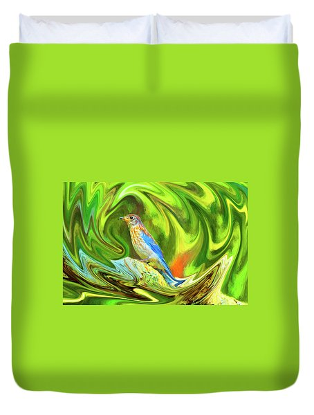 Swirling Bluebird Abstract Duvet Cover