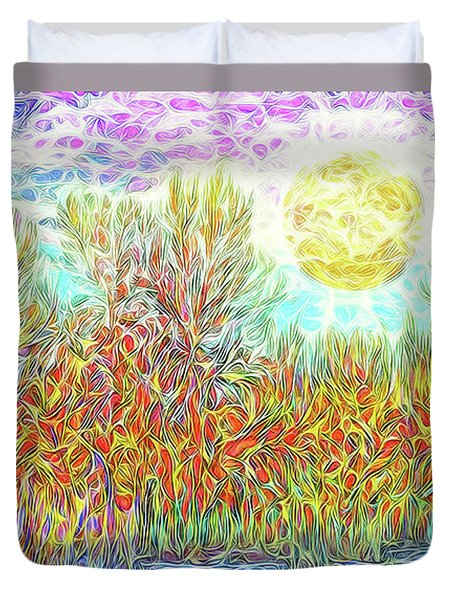 Duvet Cover featuring the digital art Swirling Brilliant Trees - Boulder County Colorado by Joel Bruce Wallach
