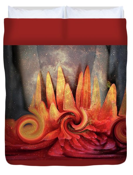 Duvet Cover featuring the digital art Swirling World In Space by Linda Sannuti