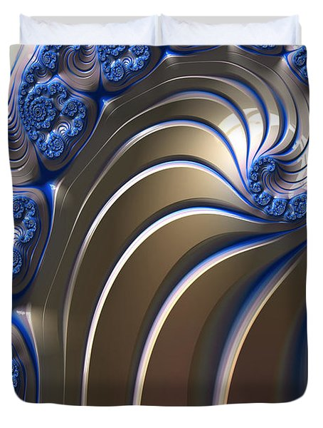 Swirly Blue Fractal Art Duvet Cover by Bonnie Bruno