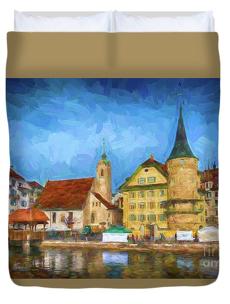 Swiss Town Duvet Cover