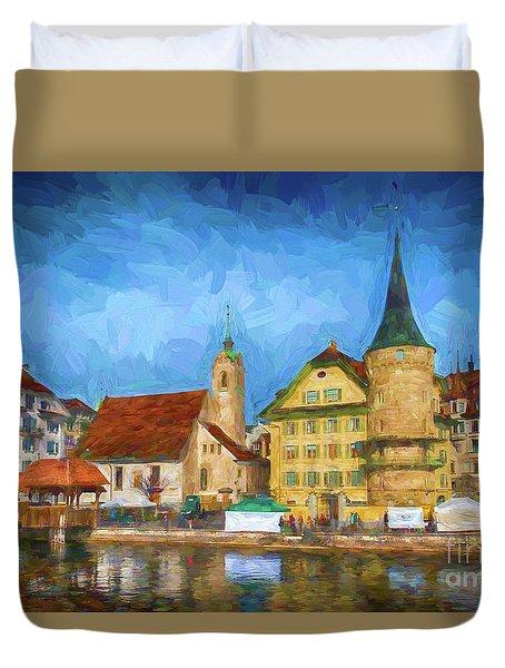 Swiss Town Duvet Cover by Pravine Chester