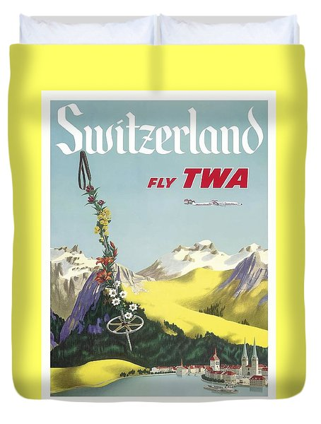 Switzerland Lake Lucerne Swiss Alps Vintage Airline Travel Poster Duvet Cover