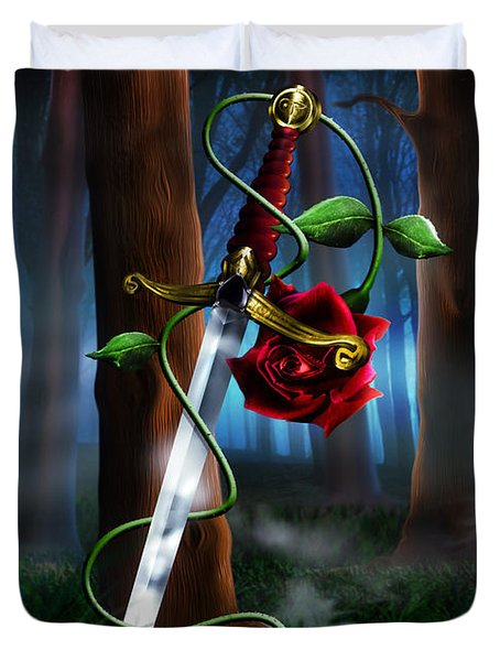 Sword And Rose Duvet Cover