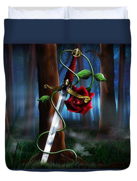 Sword And Rose Duvet Cover