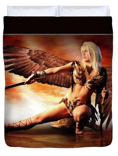 Swords Of The Hawk Woman Duvet Cover