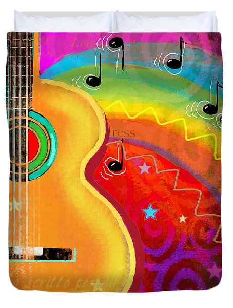 Sxsw Musical Guitar Fantasy Painting Print Duvet Cover