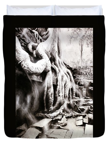 Duvet Cover featuring the painting Sycamore Tree Overgrowing Ruins- Cambodia by Ryan Fox