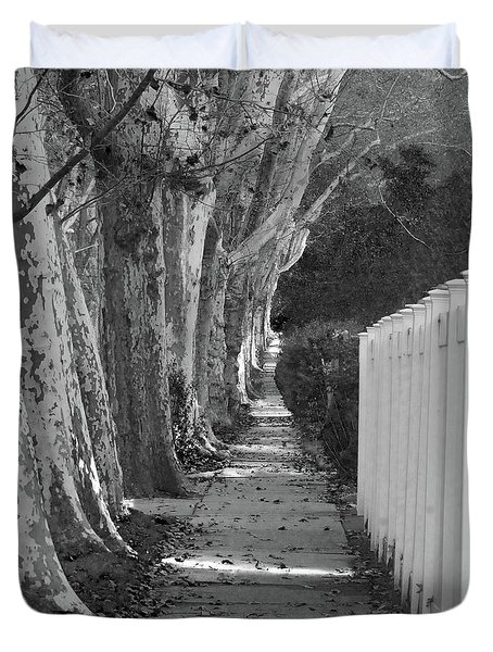 Sycamore Walk-grayscale Version Duvet Cover