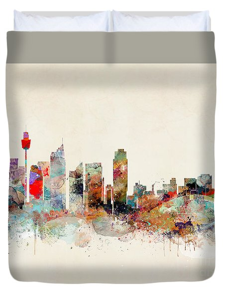 Duvet Cover featuring the painting Sydney Australia by Bri B