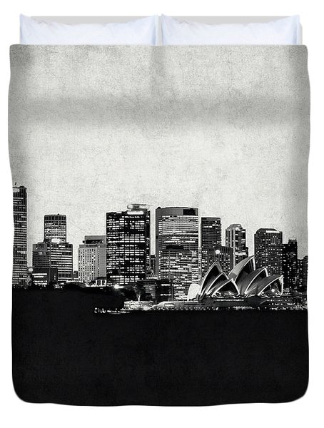Sydney City Skyline With Opera House Duvet Cover by World Art Prints And Designs